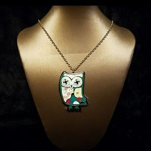 AMI Owl Necklace with Earrings